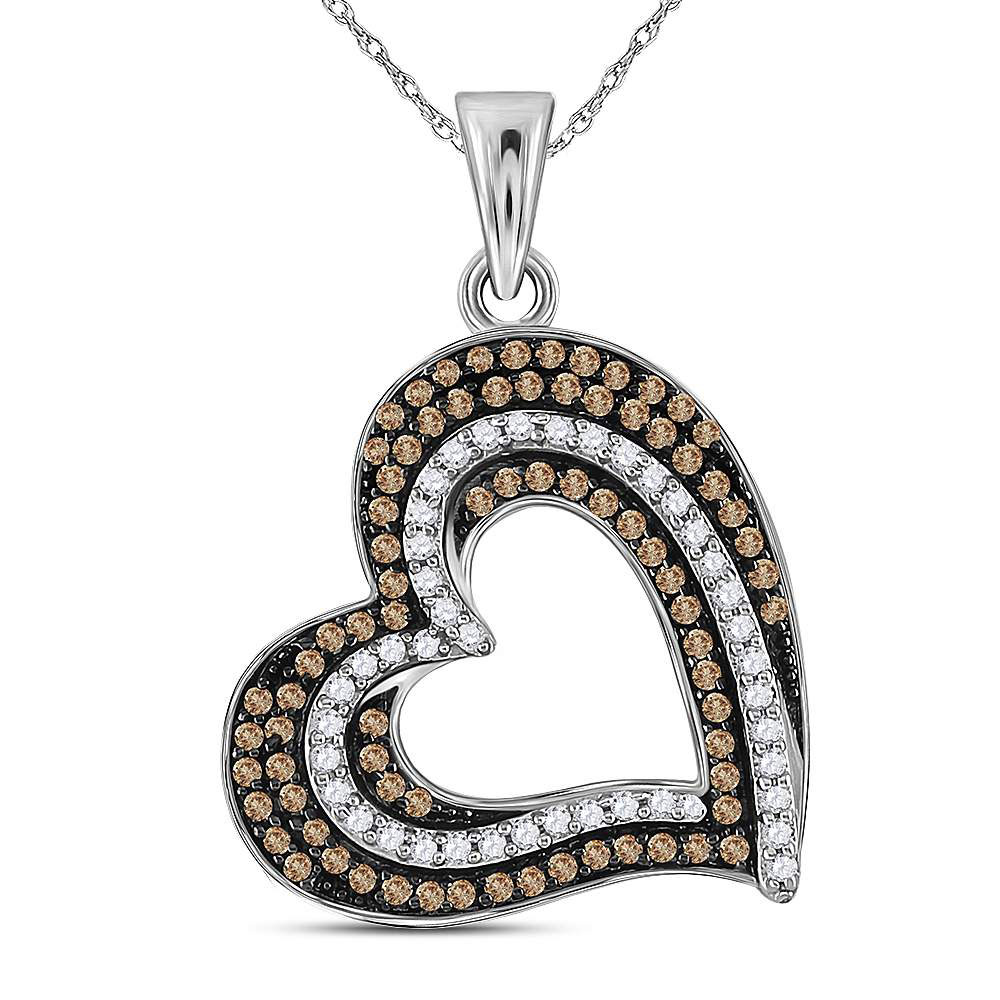 0.40 CTW Brown Color Diamond Heart Pendant 10KT White Gold - REF-30X2Y