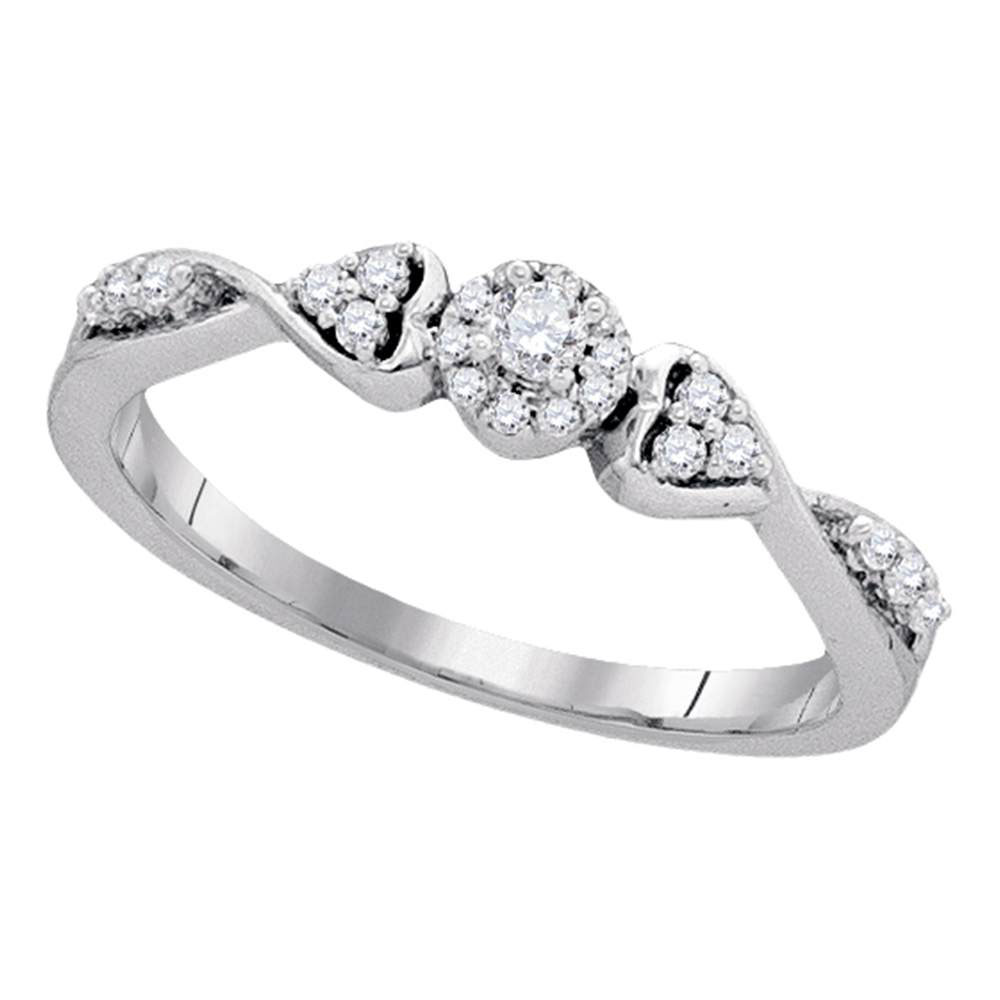 0.20 CTW Diamond Cluster Promise Bridal Ring 10KT White Gold - REF-20N9F