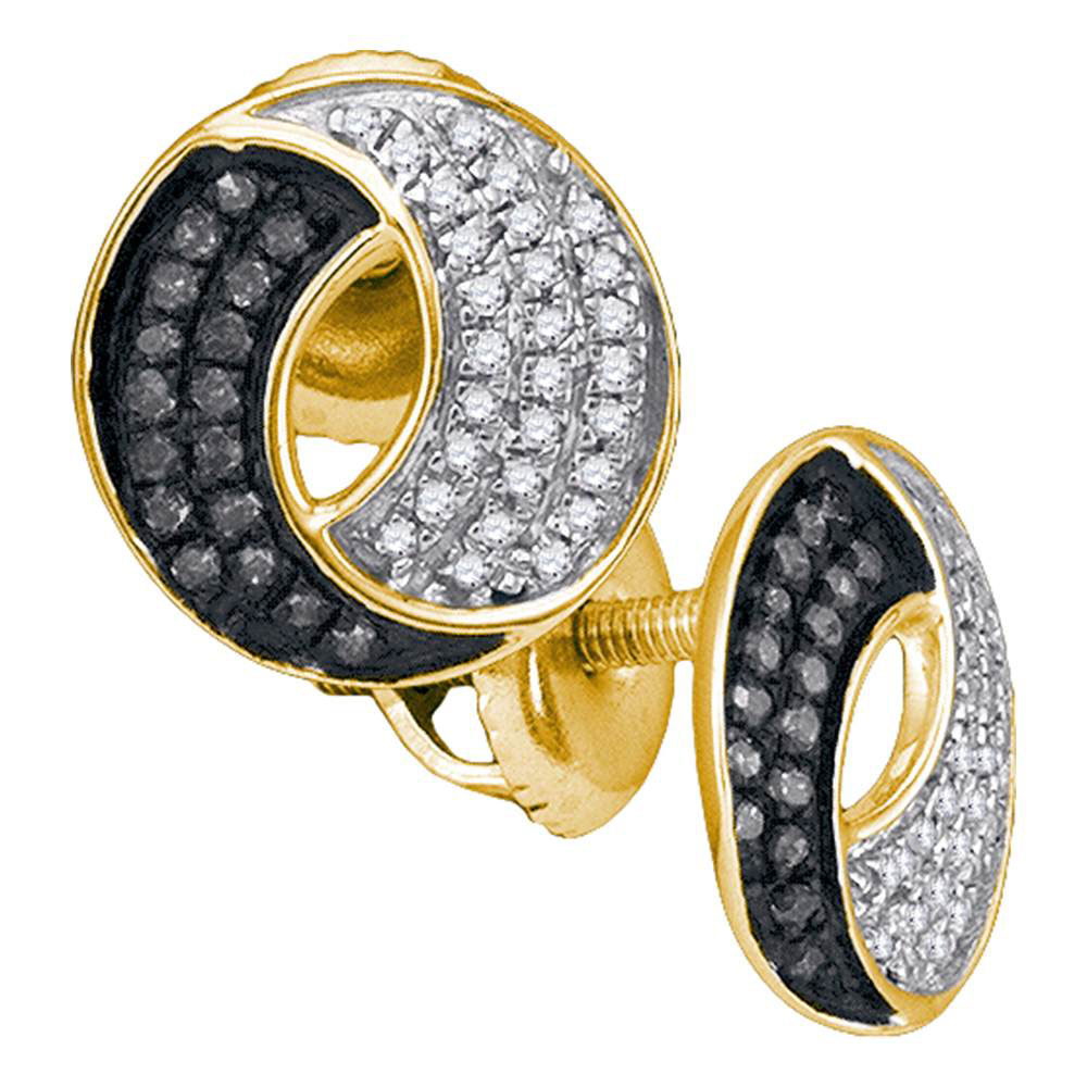 0.20 CTW Black Color Diamond Circle Cluster Earrings 10KT Yellow Gold - REF-18W2K