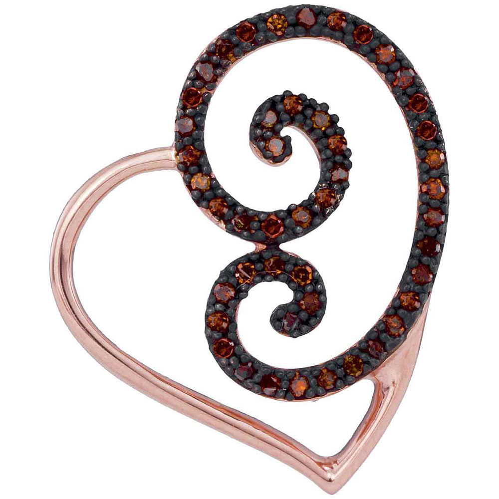 0.15 CTW Red Color Diamond Heart Love Pendant 10KT Rose Gold - REF-20W9K