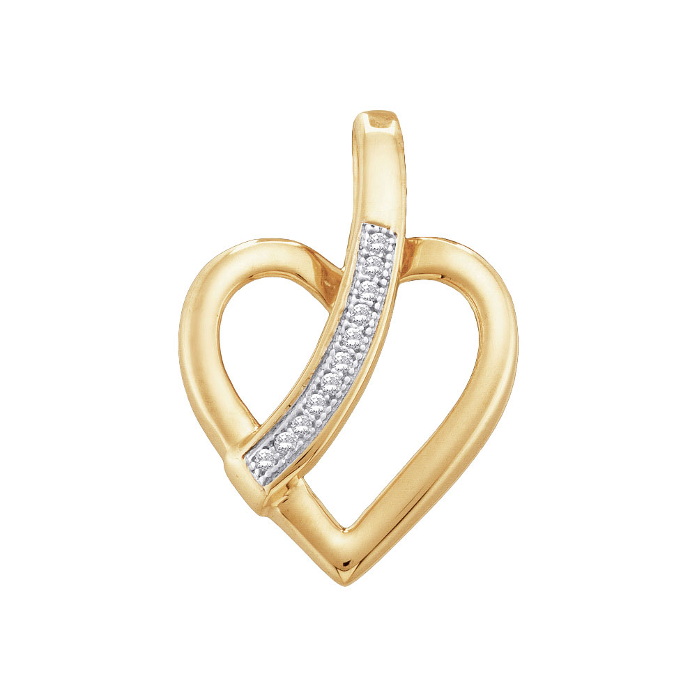 0.03 CTW Diamond Heart Love Pendant 10KT Yellow Gold - REF-8N9F