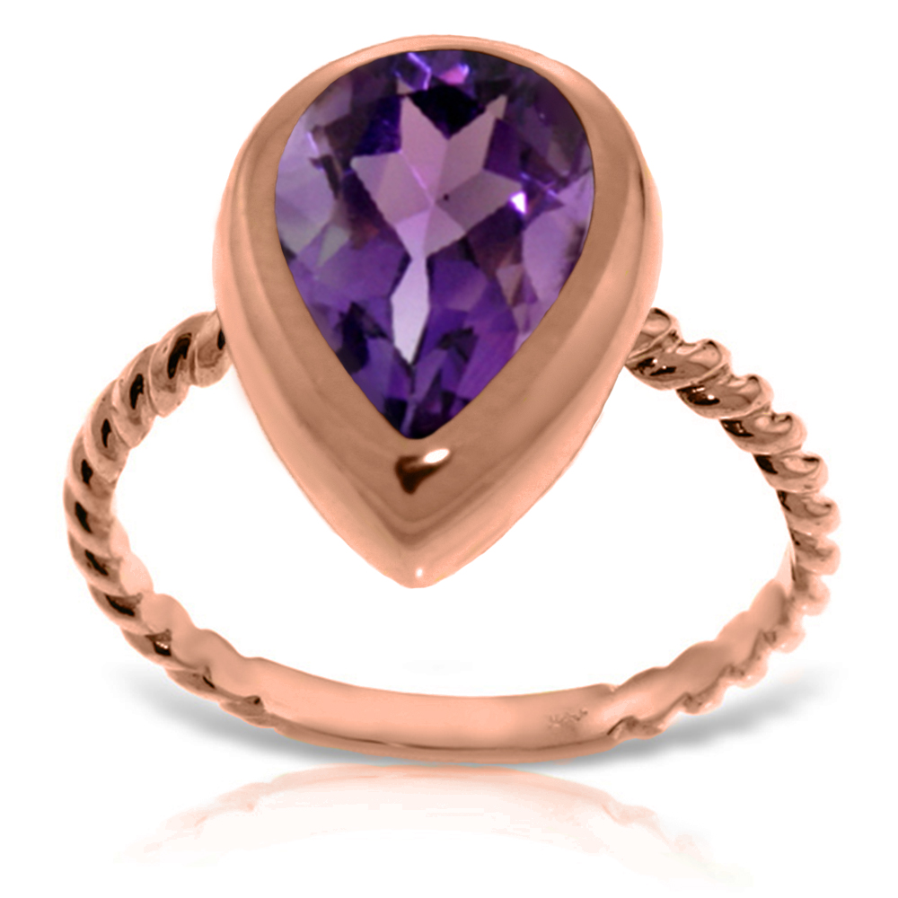 Genuine 2.5 ctw Amethyst Ring Jewelry 14KT Rose Gold - REF-40T7A
