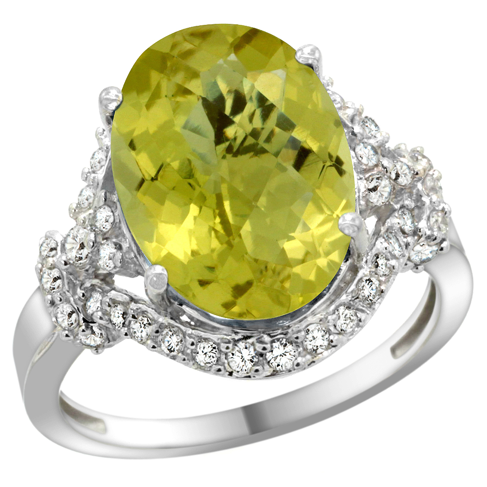Natural 5.89 ctw lemon-quartz & Diamond Engagement Ring 14K White Gold - REF-86Y5X
