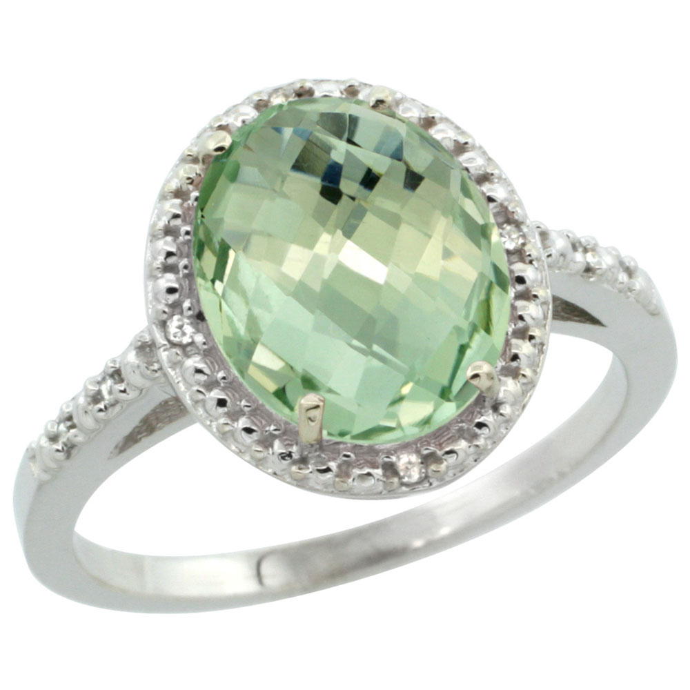 Natural 2.42 ctw Green-amethyst & Diamond Engagement Ring 10K White Gold - REF-25K5R
