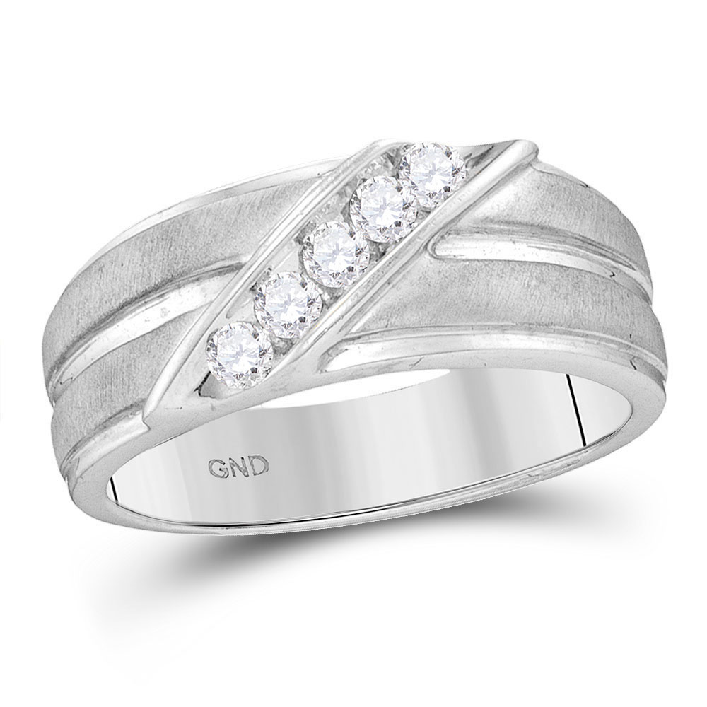 0.27 CTW Mens Diamond Diagonal Row Ridged Matte Wedding Ring 10KT White Gold - REF-34X4Y