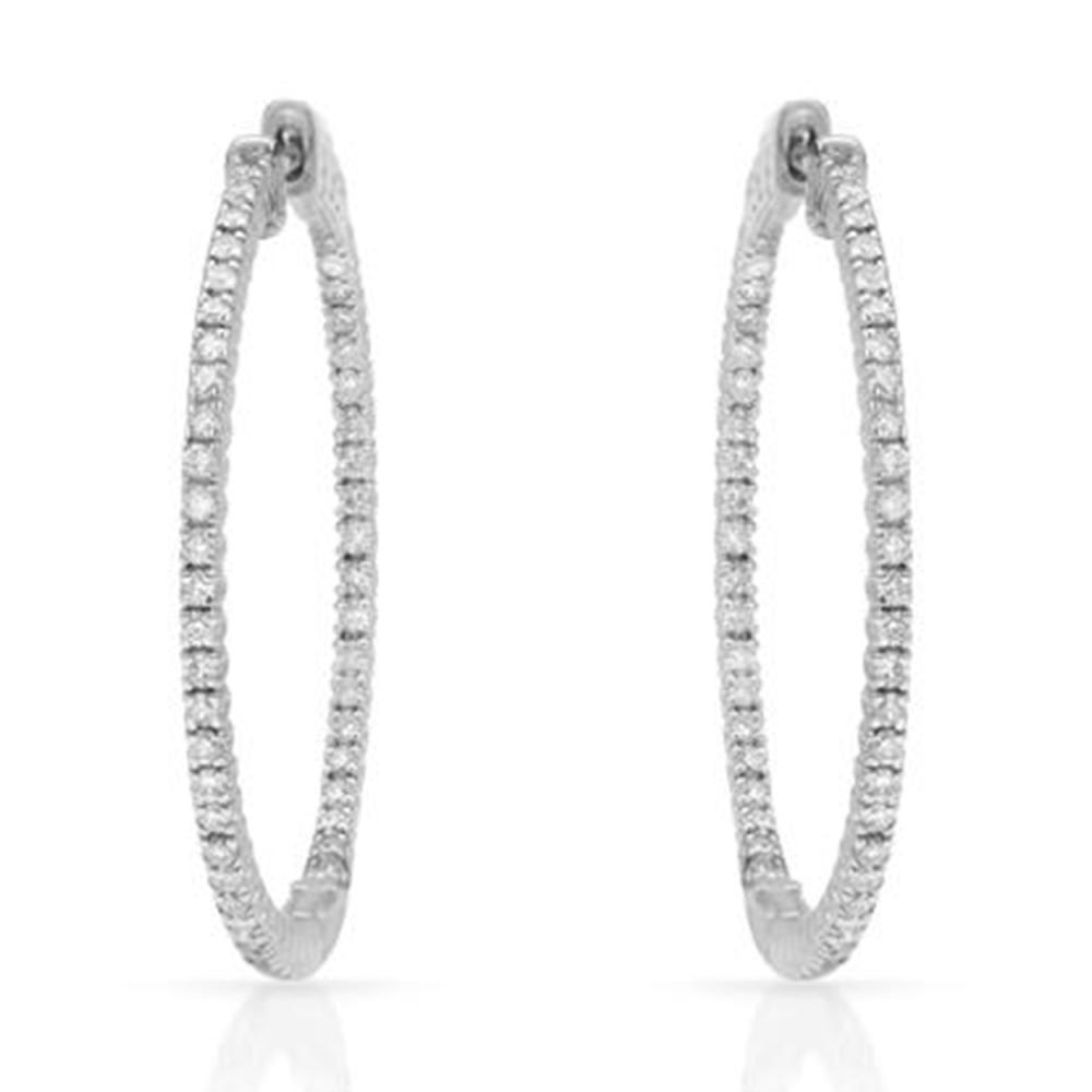 1.21 CTW Diamond Earrings 14K White Gold - REF-125Y8X