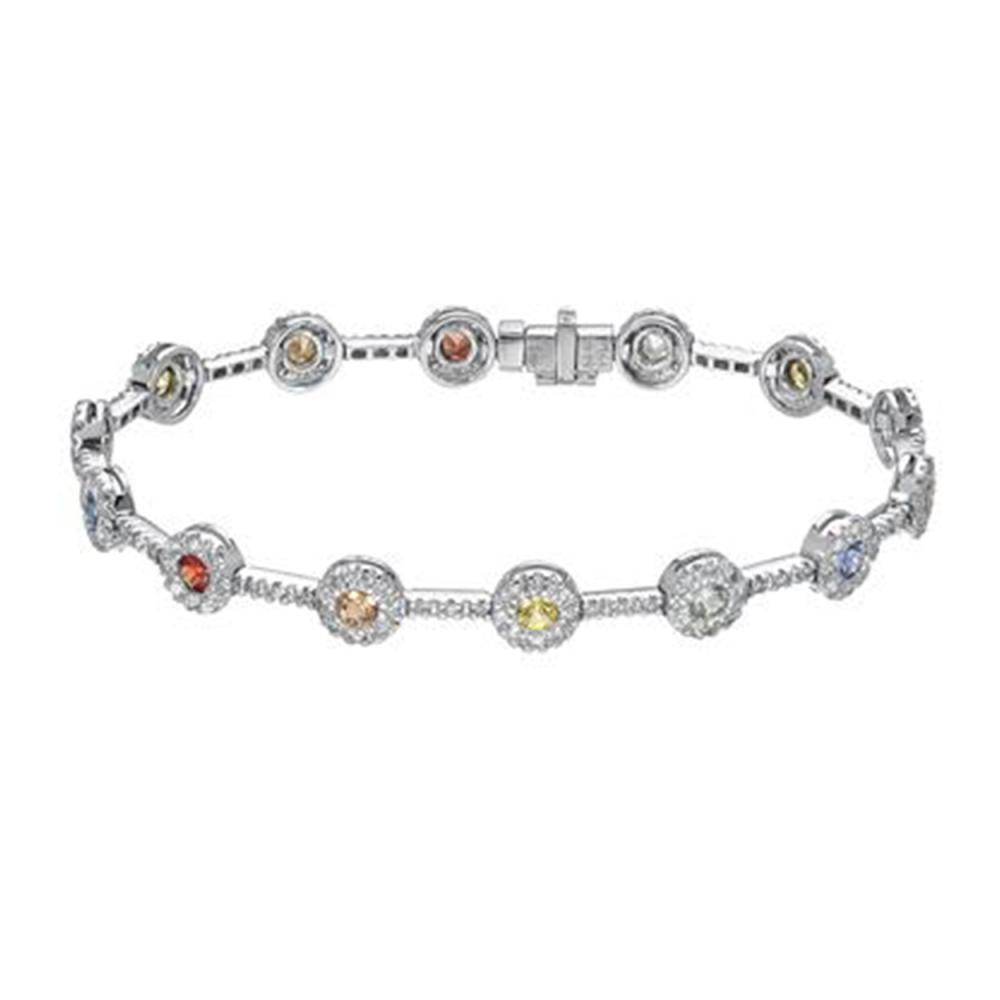 3.39 CTW Multi-Color Sapphire & Diamond Bracelet 18K White Gold - REF-152H5M