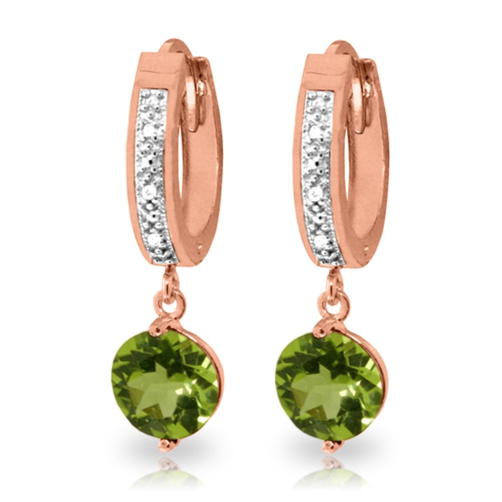 Genuine 2.63 ctw Peridot & Diamond Earrings Jewelry 14KT Rose Gold - REF-56V2W