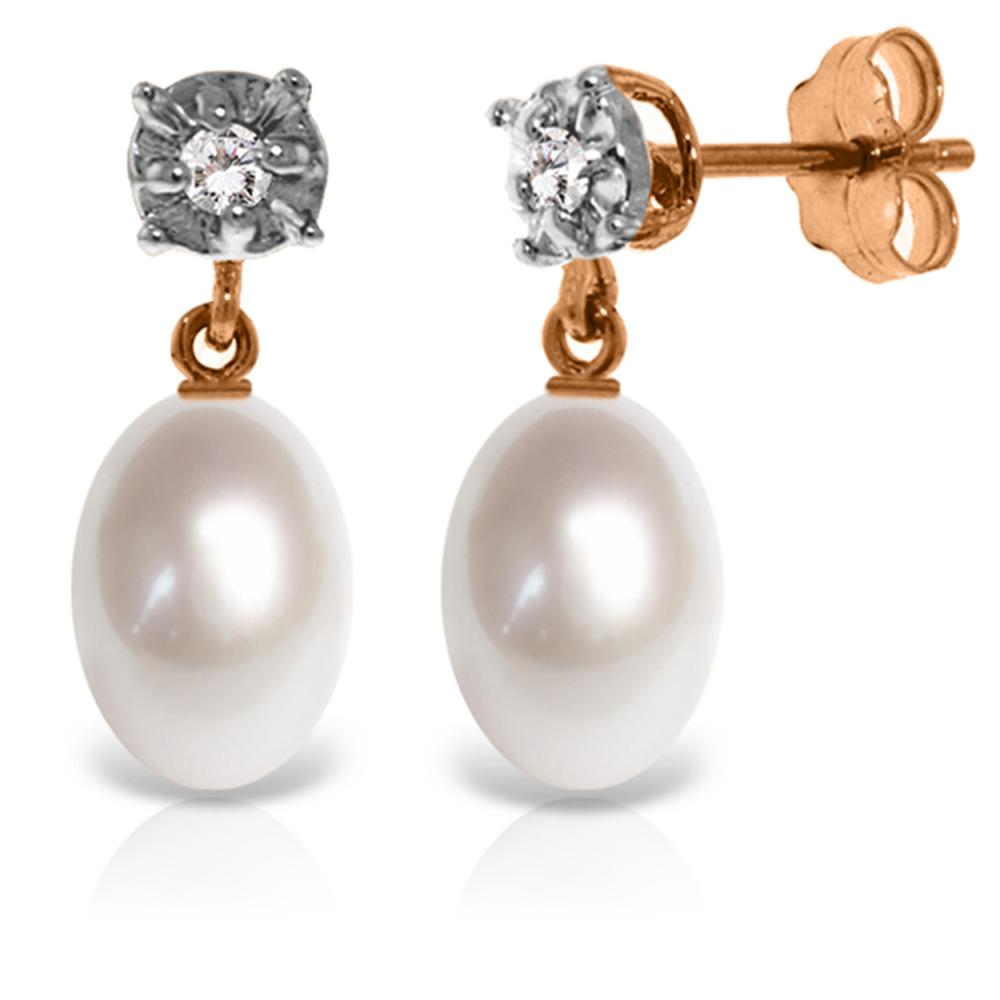 Genuine 8.06 ctw Pearl & Diamond Earrings Jewelry 14KT Rose Gold - REF-27R4P