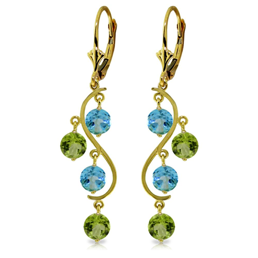 Genuine 4.94 ctw Blue Topaz & Peridot Earrings Jewelry 14KT Yellow Gold - REF-53F8Z