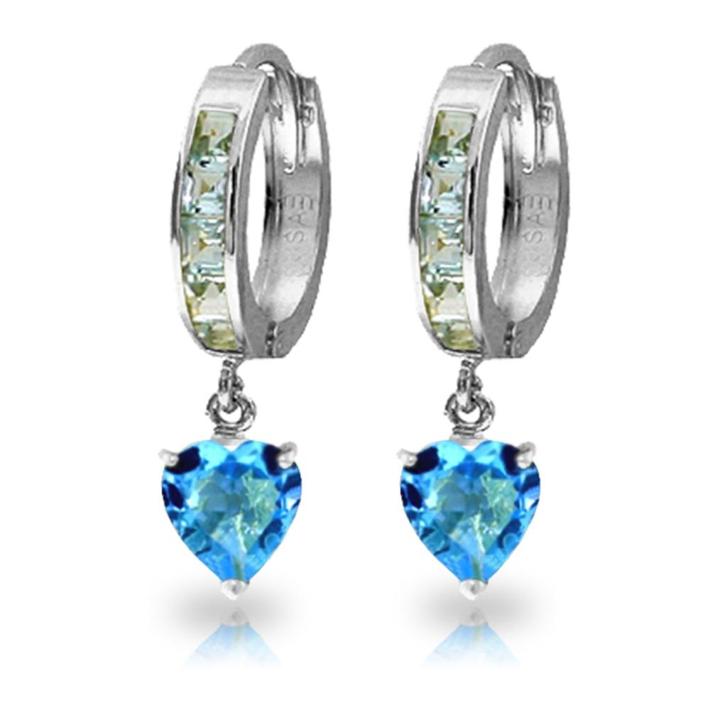 Genuine 4.1 ctw Blue Topaz Earrings Jewelry 14KT White Gold - REF-52P2H