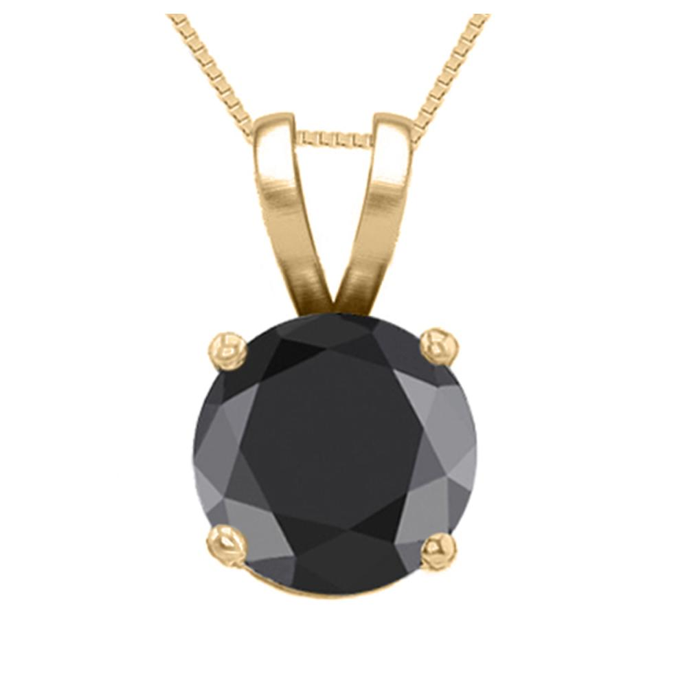 14K Yellow Gold 0.54 ct Black Diamond Solitaire Necklace - REF-42H2W-WJ13307
