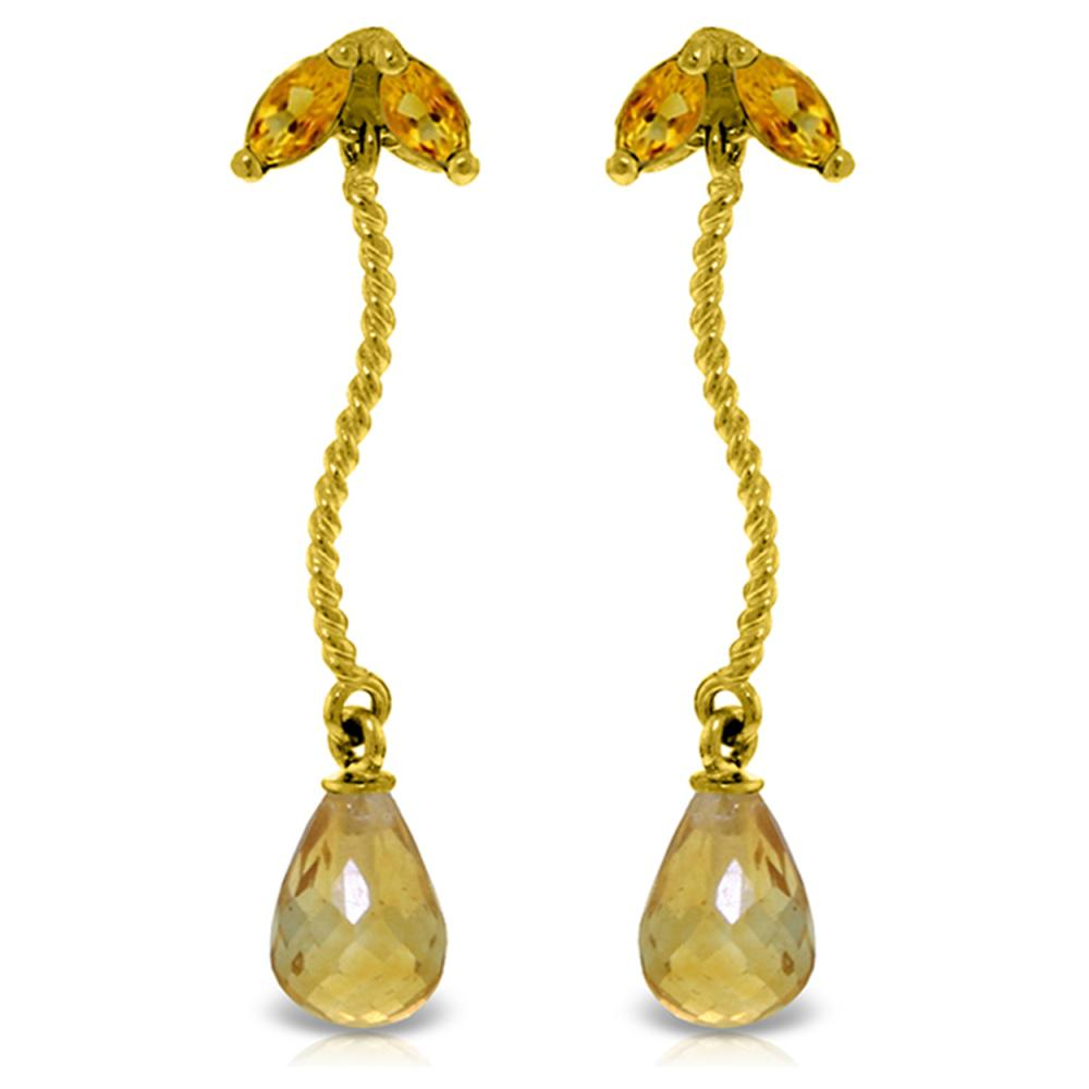 Genuine 3.4 ctw Citrine Earrings Jewelry 14KT Yellow Gold - REF-21P6H