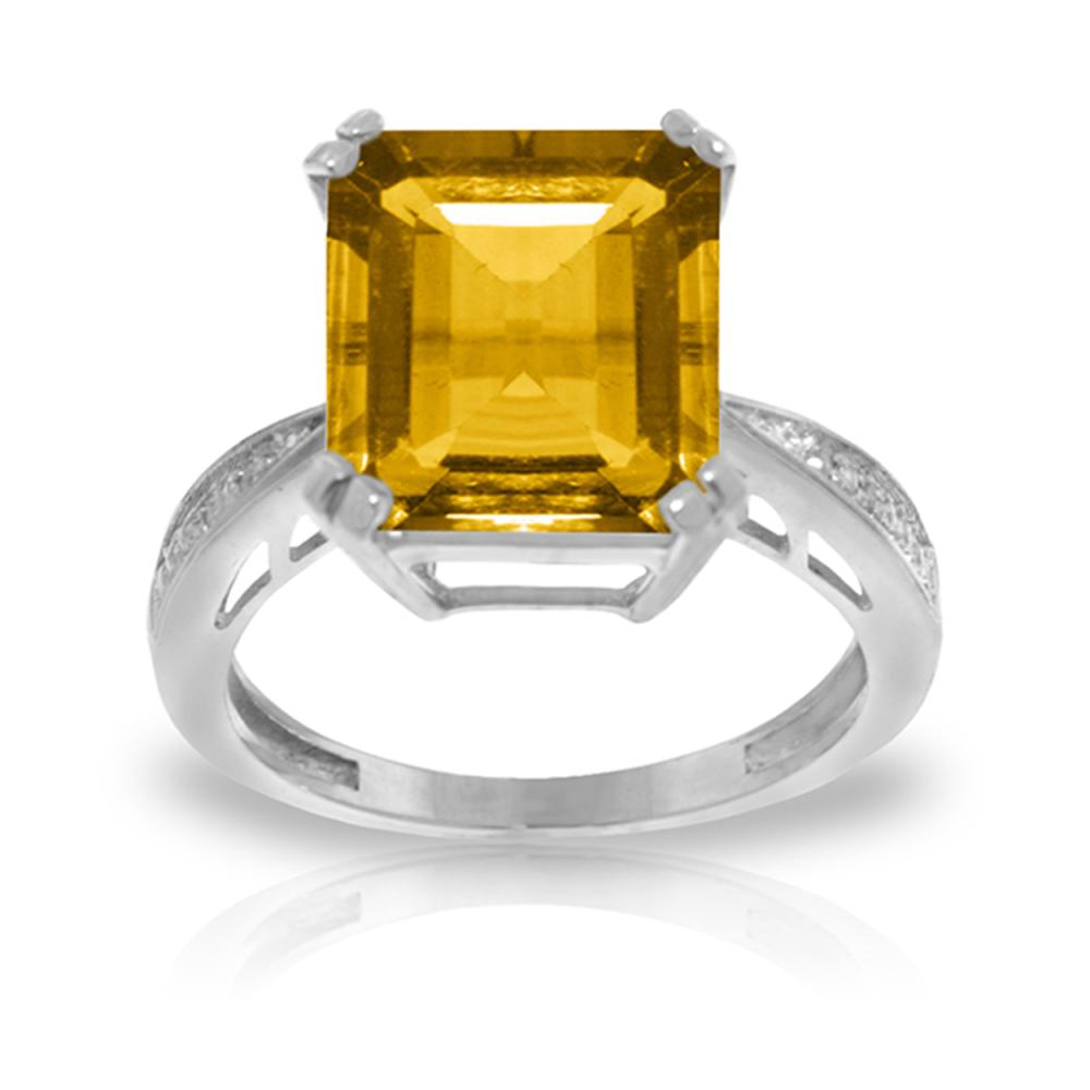 Genuine 5.62 ctw Citrine & Diamond Ring Jewelry 14KT White Gold - REF-82V9W