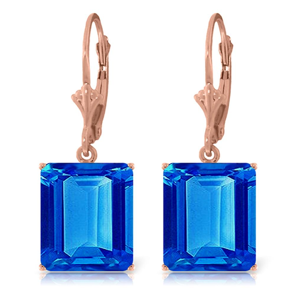 Genuine 13 ctw Blue Topaz Earrings Jewelry 14KT Rose Gold - REF-54H2X