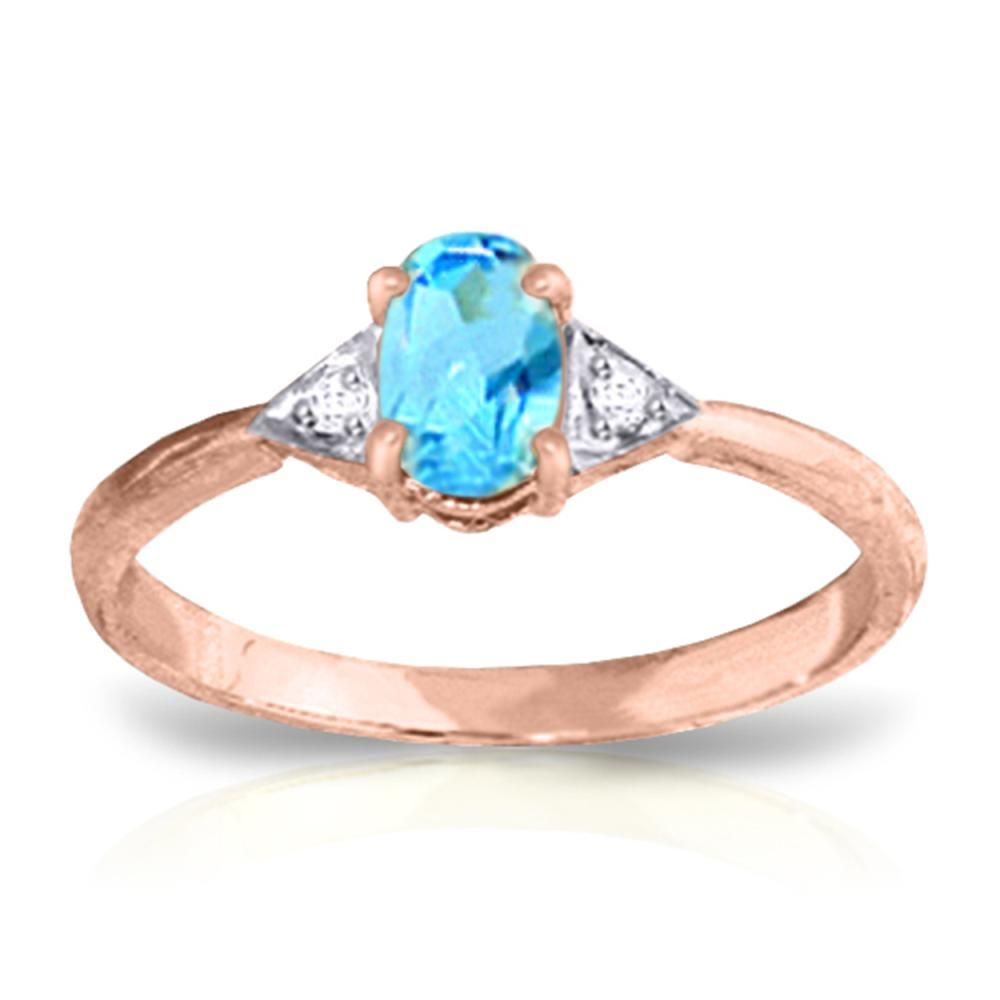 Genuine 0.46 ctw Blue Topaz & Diamond Ring Jewelry 14KT Rose Gold - REF-22X5M