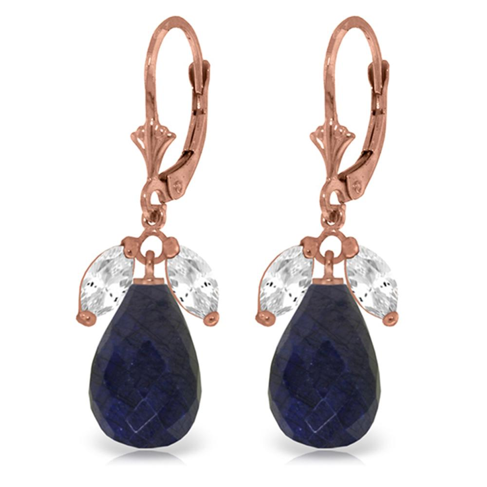 Genuine 18.6 ctw White Topaz & Sapphire Earrings Jewelry 14KT Rose Gold - REF-46Y7F