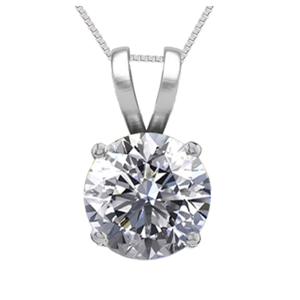 14K White Gold 1.05 ct Natural Diamond Solitaire Necklace - REF-286A8V-WJ13291