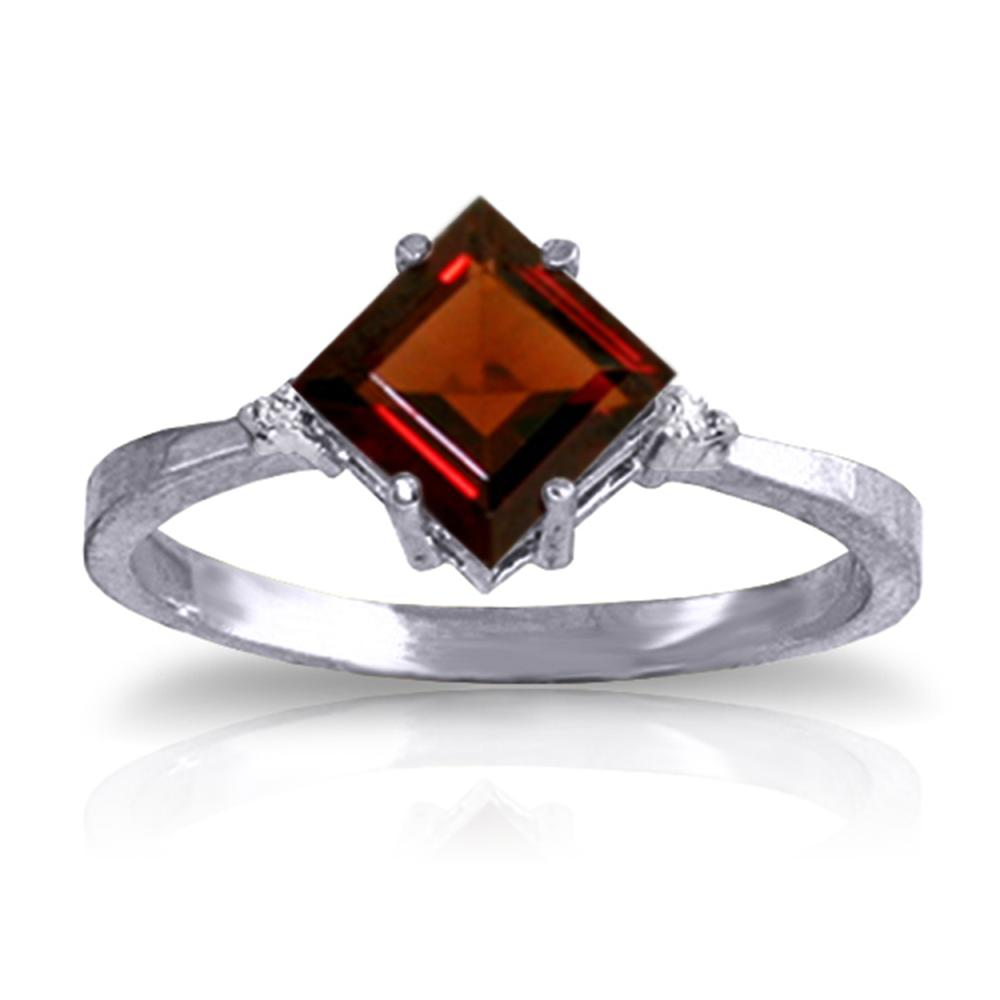Genuine 1.77 ctw Garnet & Diamond Ring Jewelry 14KT White Gold - REF-28R8P