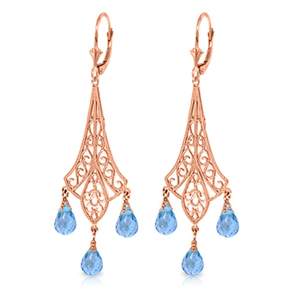 Genuine 4.8 ctw Blue Topaz Earrings Jewelry 14KT Rose Gold - REF-56Z9N