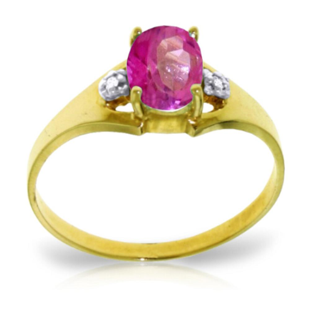 Genuine 0.76 ctw Pink Topaz & Diamond Ring Jewelry 14KT Yellow Gold - REF-26N2R