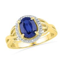 0.02 CTW Oval Created Blue Sapphire Solitaire Diamond Ring 10KT Yellow Gold - REF-20W9K