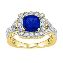 3.75 CTW Princess Created Blue Sapphire Solitaire Ring 10KT Yellow Gold - REF-32N9F