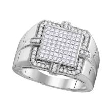 1.02 CTW Mens Princess Diamond Square Cluster Ring 10KT White Gold - REF-101H9M