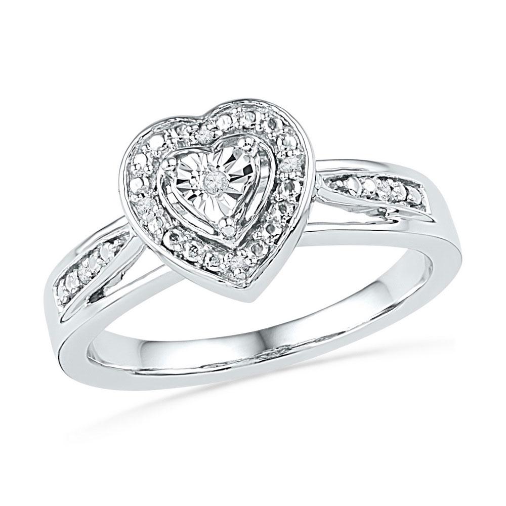 0.03 CTW Diamond Heart Love Ring 10KT White Gold - REF-22M4H