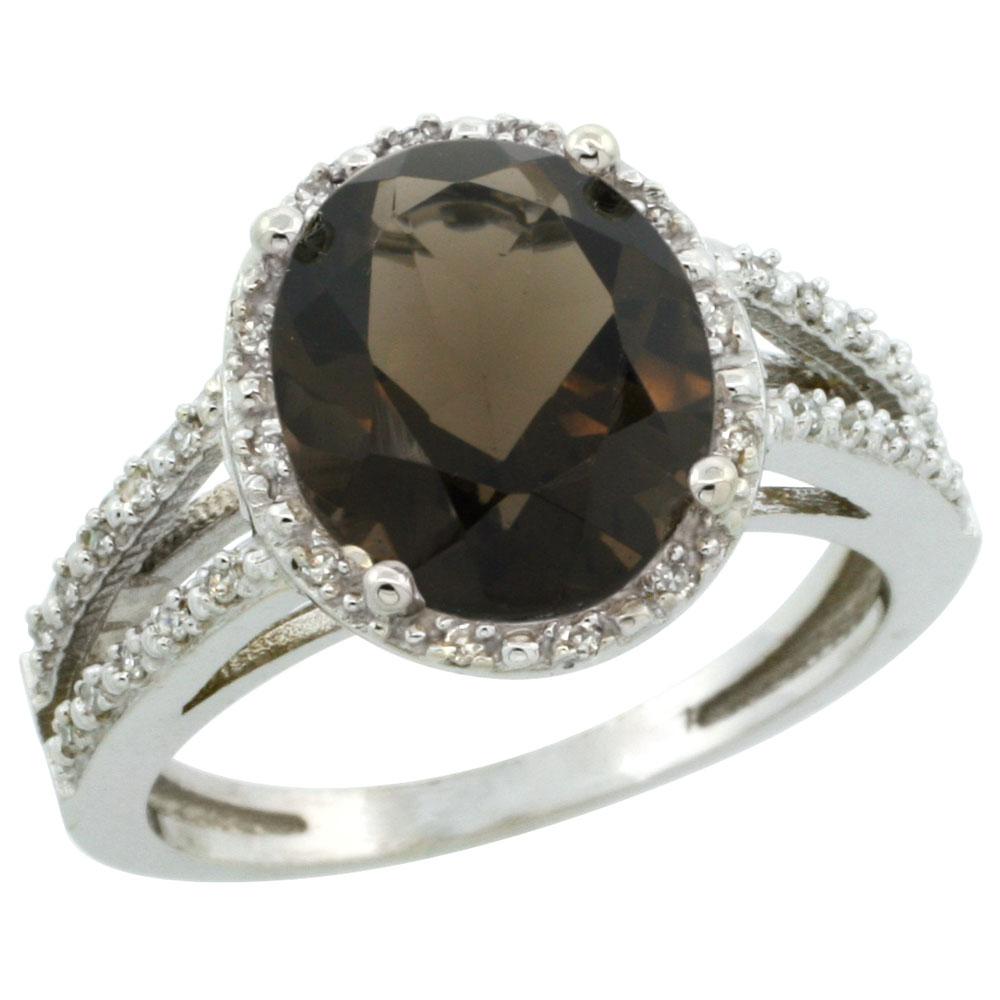 Natural 3.47 ctw Smoky-topaz & Diamond Engagement Ring 10K White Gold - REF-34N7G