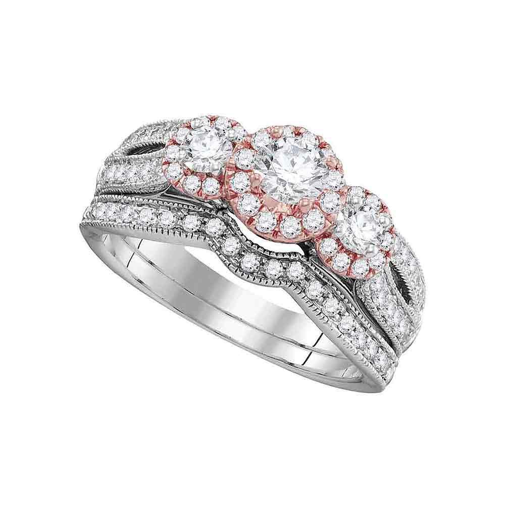 1 CTW Diamond Bridal Wedding Engagement Ring 14KT White Gold - REF-139M5H