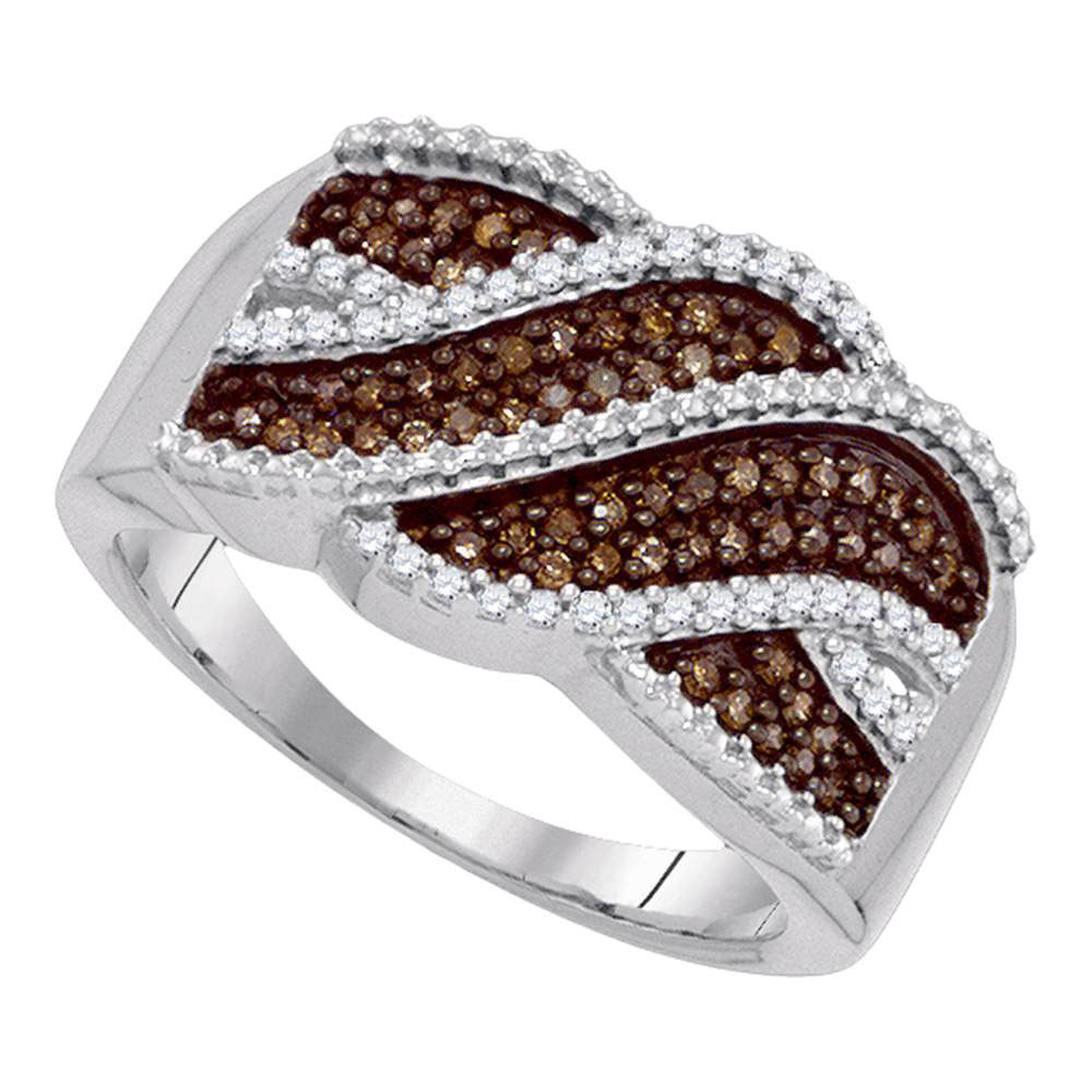 0.35 CTW Cognac-brown Color Diamond Crossover Ring 10KT White Gold - REF-26W9K