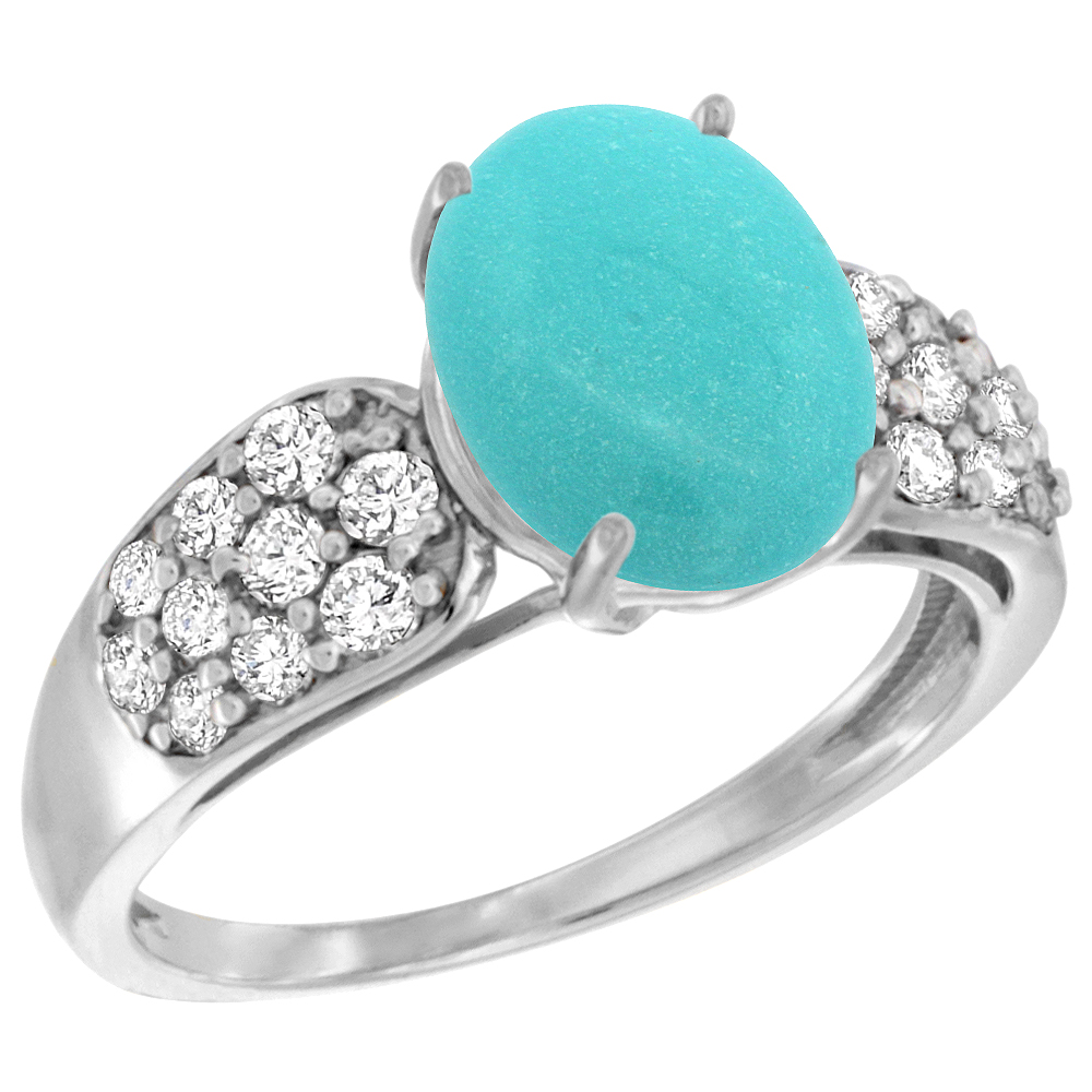 Natural 2.75 ctw turquoise & Diamond Engagement Ring 14K White Gold - REF-65Y2X