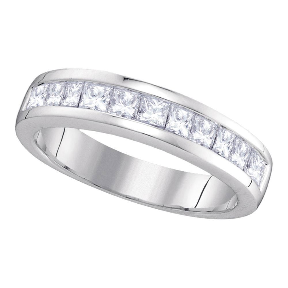 1 CTW Princess Channel-set Diamond Single Row Ring 14KT White Gold - REF-106F5N