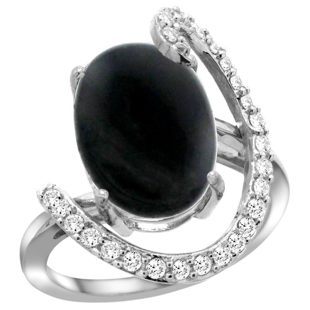 Natural 3.63 ctw Onyx & Diamond Engagement Ring 14K White Gold - REF-85K2R