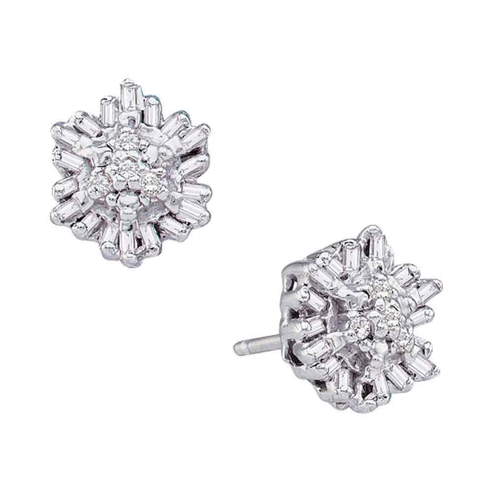 0.11 CTW Diamond Cluster Stud Earrings 14KT White Gold - REF-18Y2X