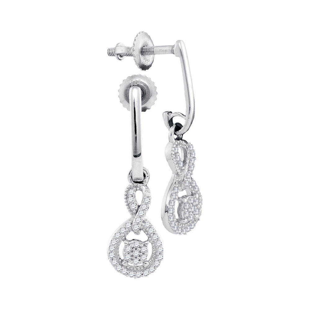 0.20 CTW Diamond Cluster Dangle Earrings 10KT White Gold - REF-20Y9X
