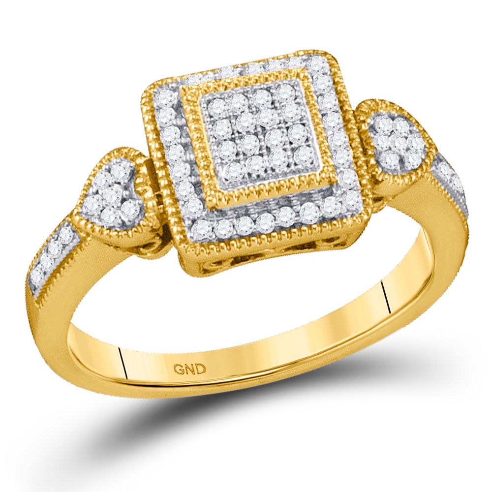 0.20 CTW Diamond Square Cluster Diamond Ring 10KT Yellow Gold - REF-24F2N