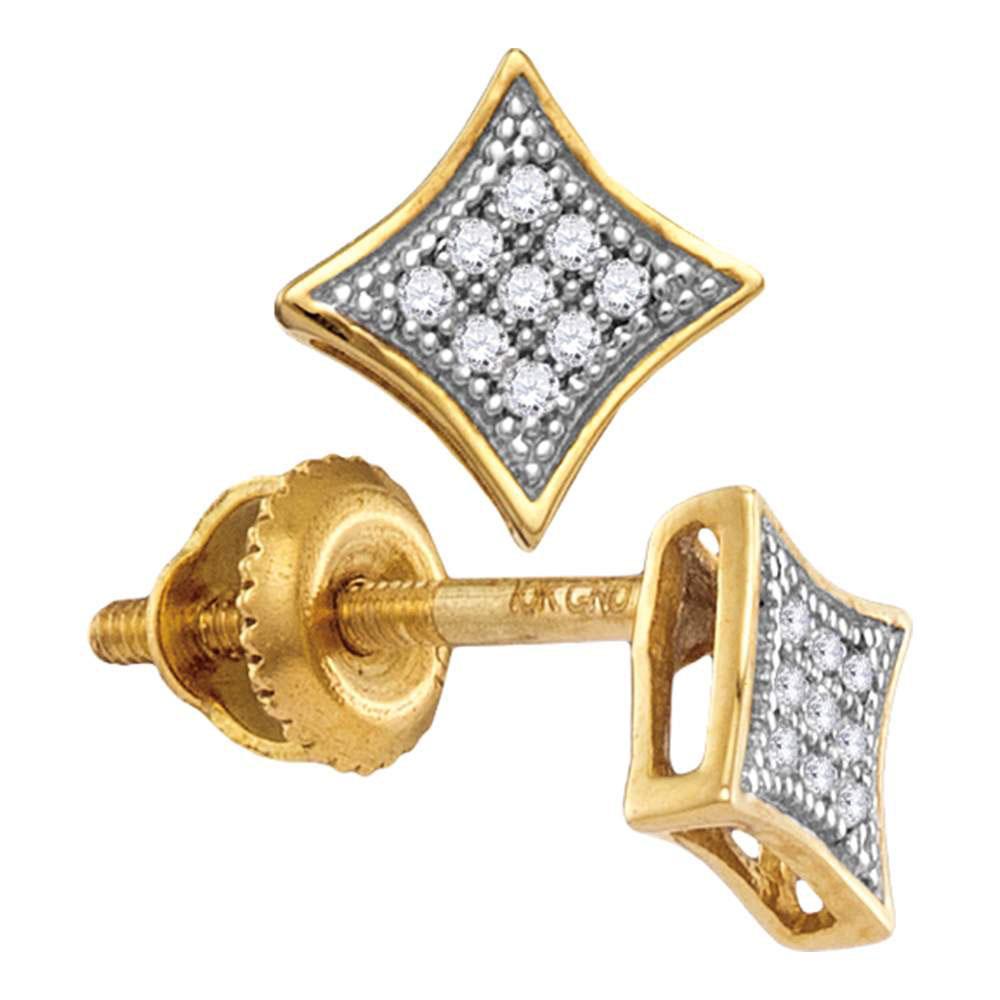 0.05 CTW Diamond Square Kite Cluster Screwback Earrings 10KT Yellow Gold - REF-7N4F