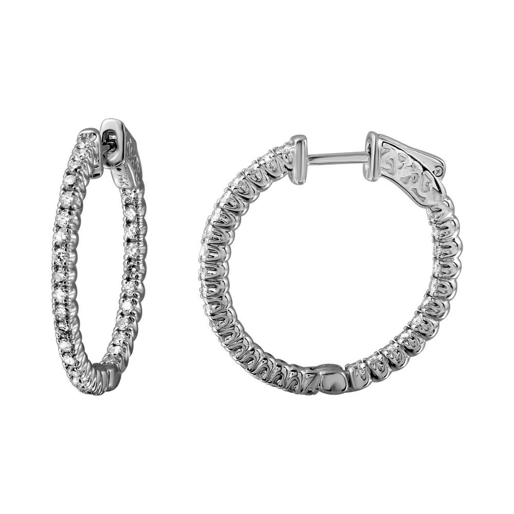 0.95 CTW Diamond Earrings 14K White Gold - REF-102N2Y