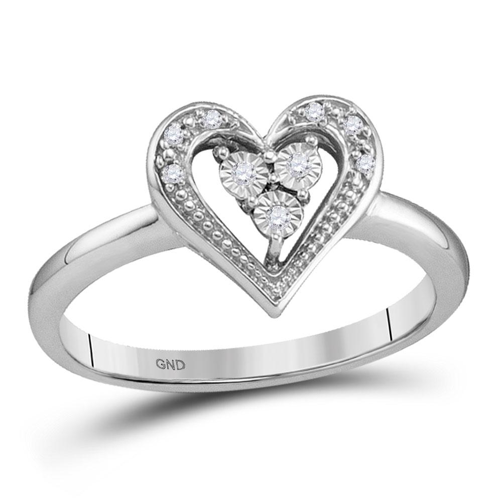 0.02 CTW Diamond Heart Cluster Ring 10KT White Gold - REF-12W2K