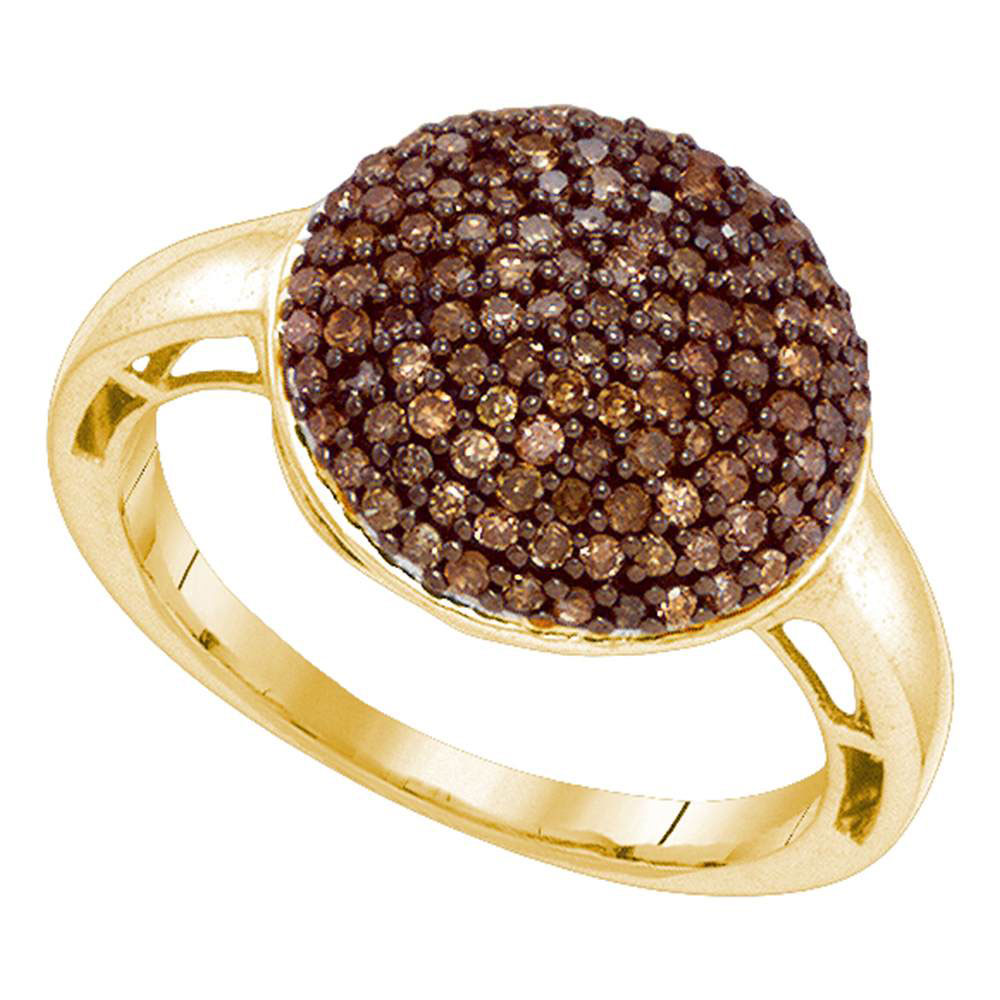 0.60 CTW Cognac-brown Color Diamond Cluster Ring 10KT Yellow Gold - REF-30W2K