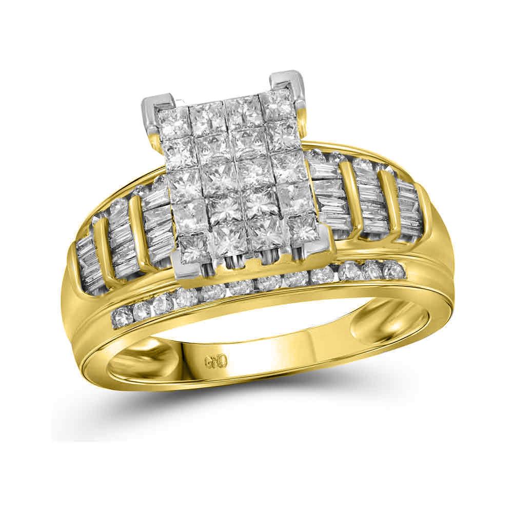 2 CTW Princess Diamond Cluster Bridal Engagement Ring 10KT Yellow Gold - REF-122W9K