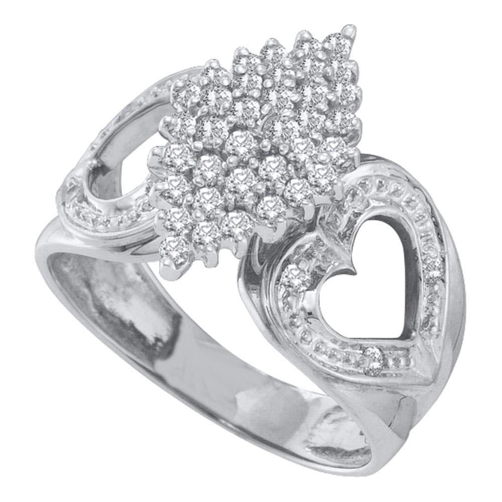 0.50 CTW Diamond Cluster Heart Ring 10KT White Gold - REF-26M9H