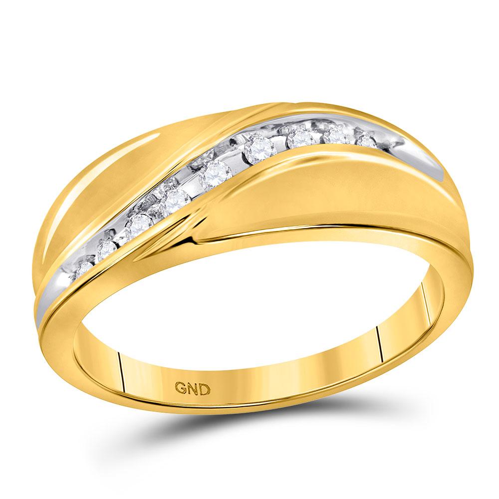 0.13 CTW Mens Diamond Single Row Ring 10KT Yellow Gold - REF-26X9Y