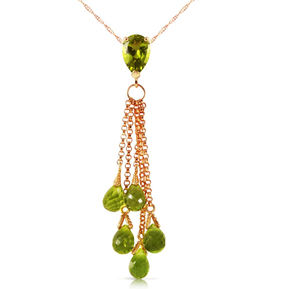 Genuine 7.5 ctw Peridot Necklace Jewelry 14KT Rose Gold - REF-39R4P