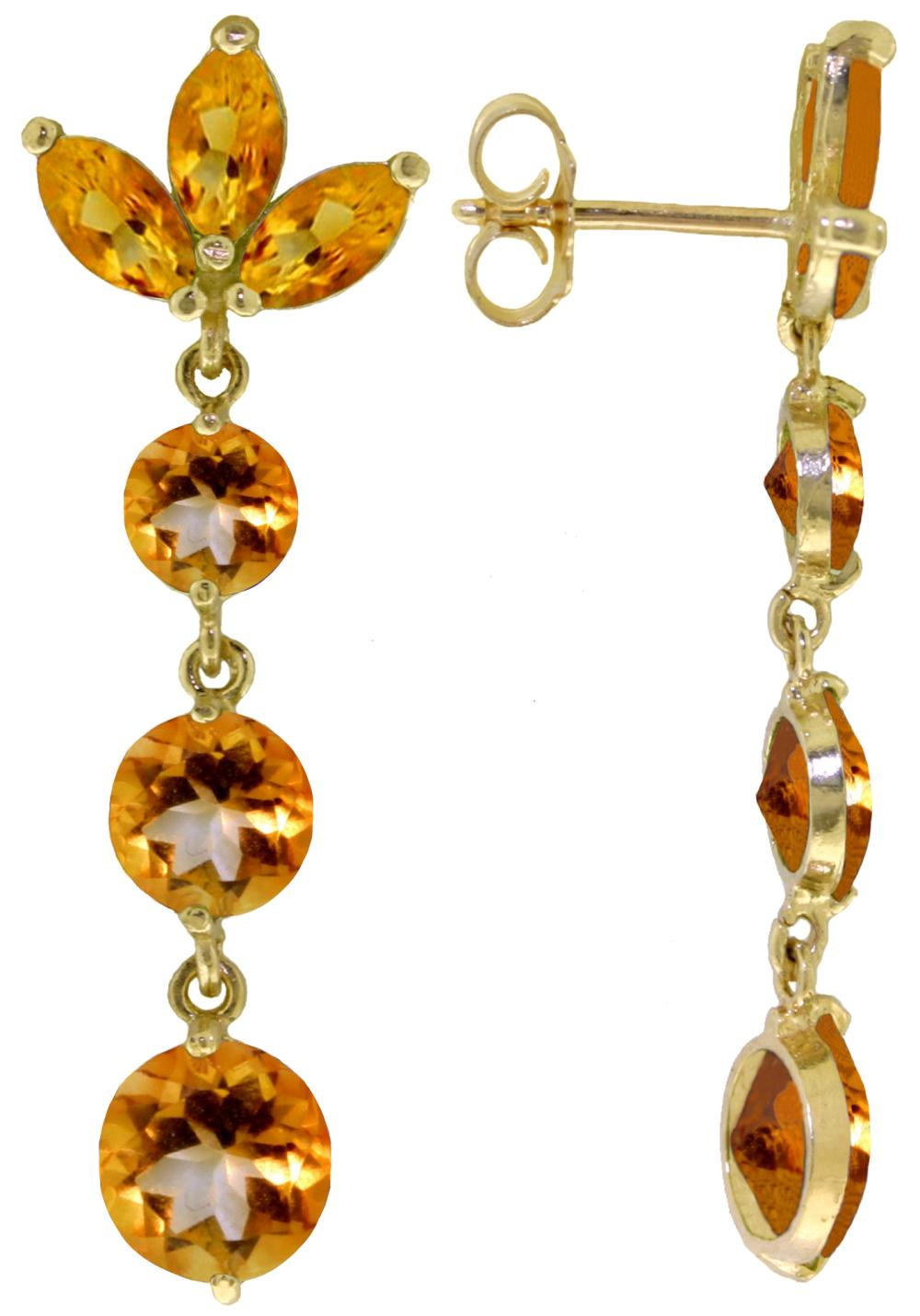 Genuine 8.7 ctw Citrine Earrings Jewelry 14KT White Gold - REF-53H6X