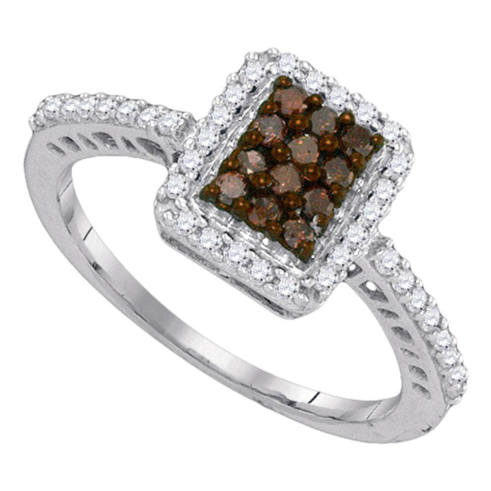 0.45 CTW Cognac-brown Color Diamond Rectangle Cluster Ring 10KT White Gold - REF-25K4W