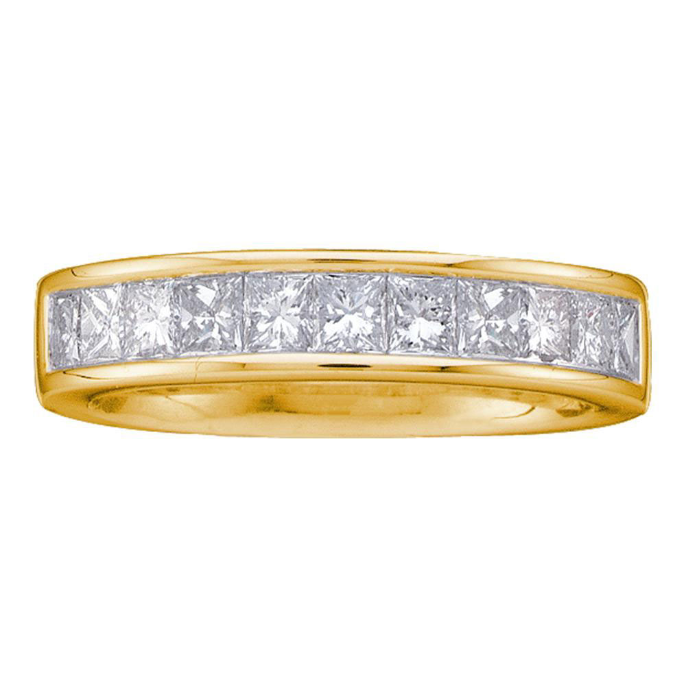 1 CTW Princess Channel-set Diamond Single Row Ring 14KT Yellow Gold - REF-107X9Y