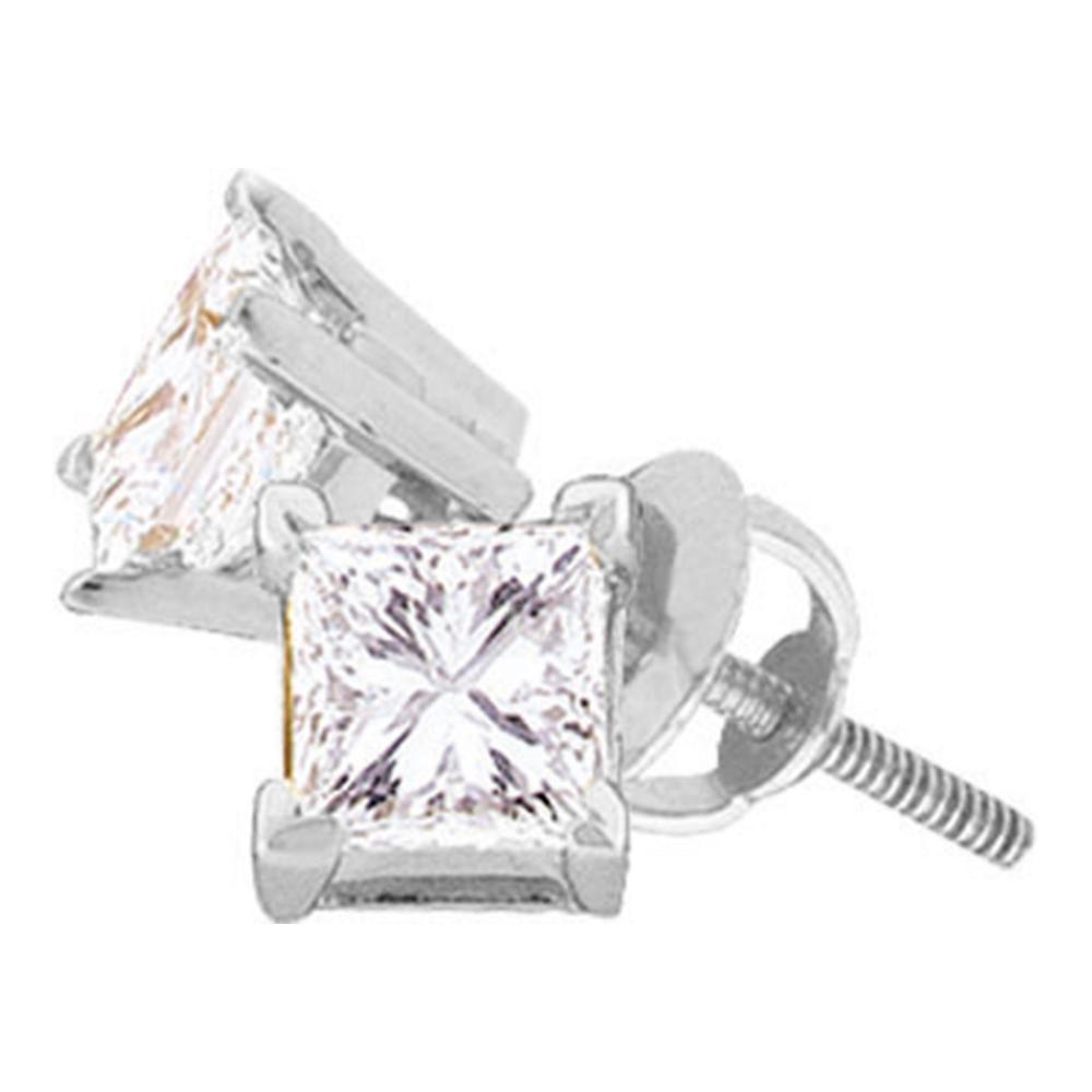 0.25 CTW Princess Diamond Solitaire Stud Earrings 14KT White Gold - REF-26W9K